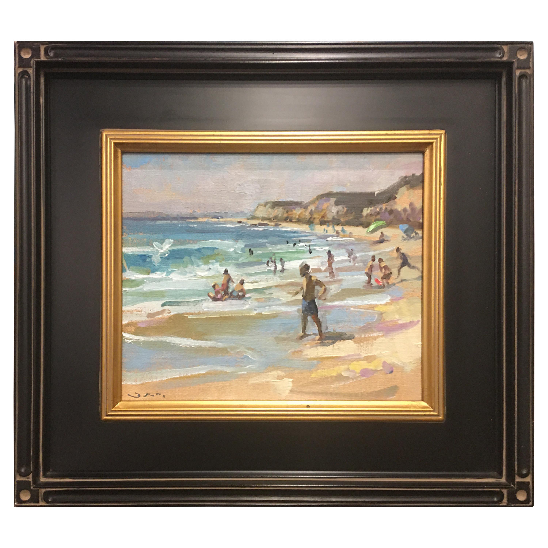 "Framed Oil on Canvas ""Laguna Kids"" Ocean Scene, Jeff Markowsky"