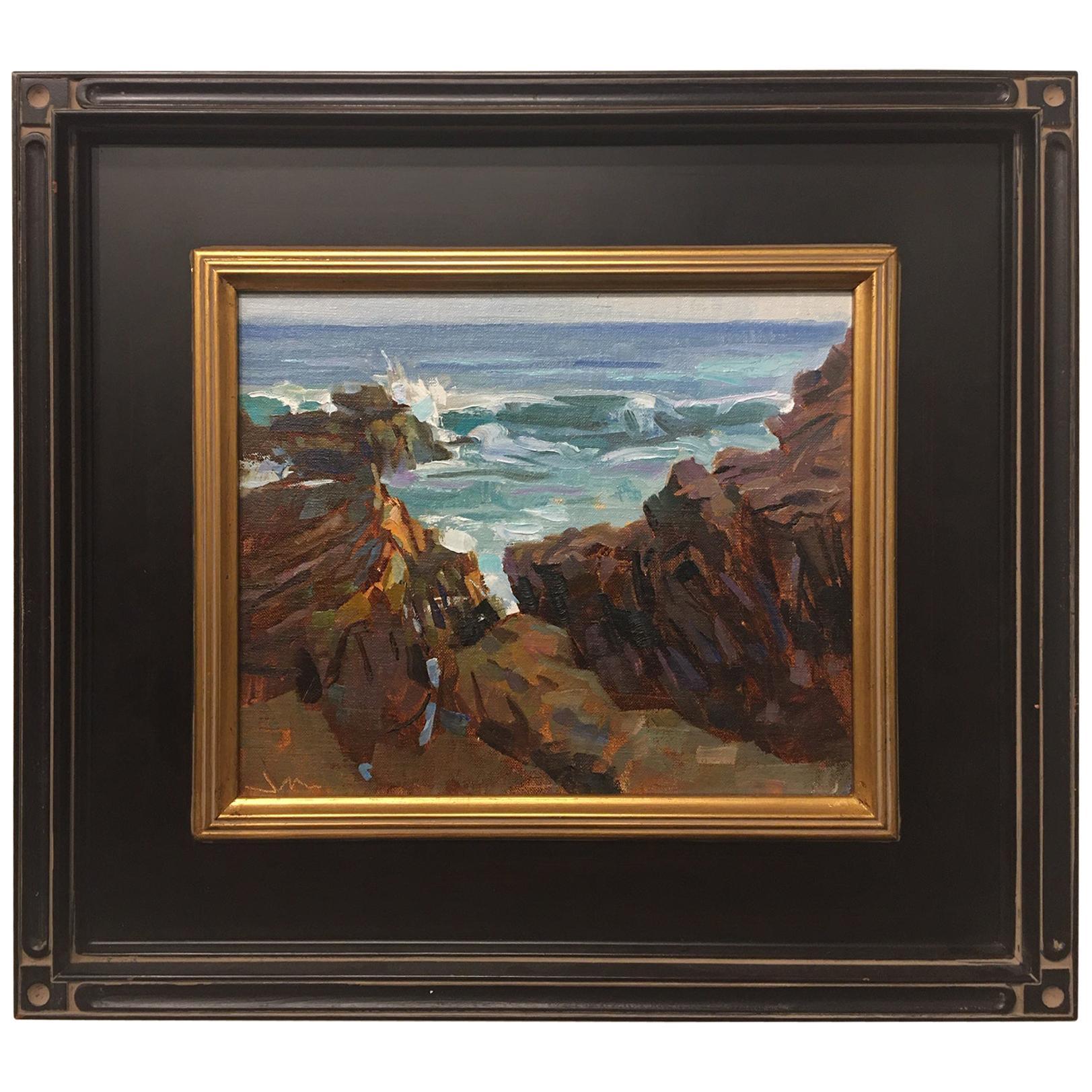 "Framed Oil on Canvas ""Laguna Rocks"" Rocks Scene, Jeff Markowsky"