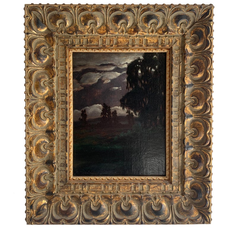 Framed Oil on Canvas Landscape by R. Russell For Sale