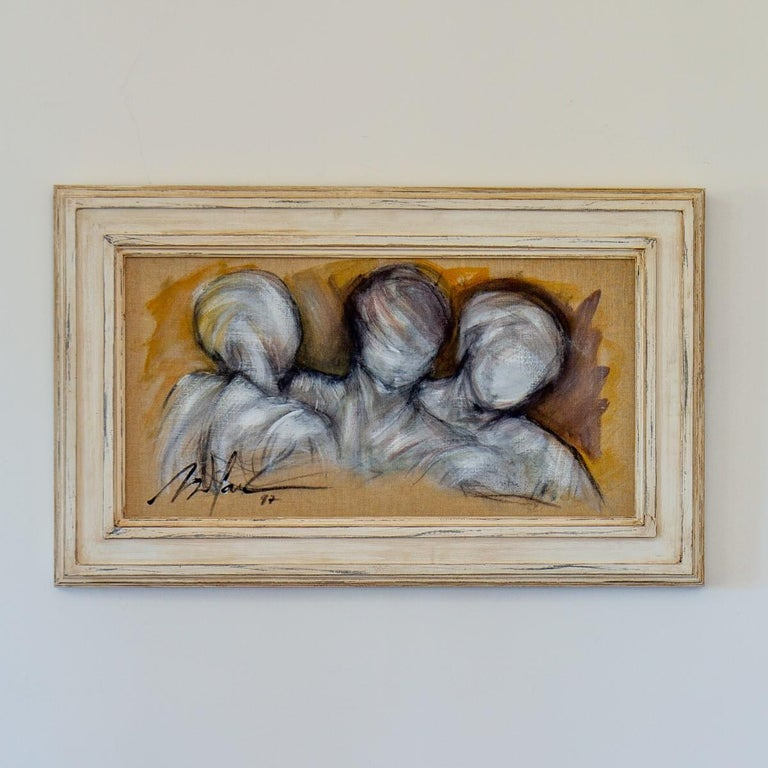 A French framed oil on canvas painting of three figures heads, by Mickey Pfau 1997, signed and dated.  Bought directly from the artist in the 1990s by Ken, for his own private collection. These paintings would look as a single piece of artwork but