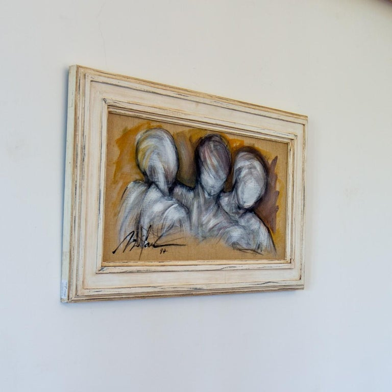 Modern Framed Oil on Canvas Painting of Three Figures by Mickey Pfau, 1997 For Sale
