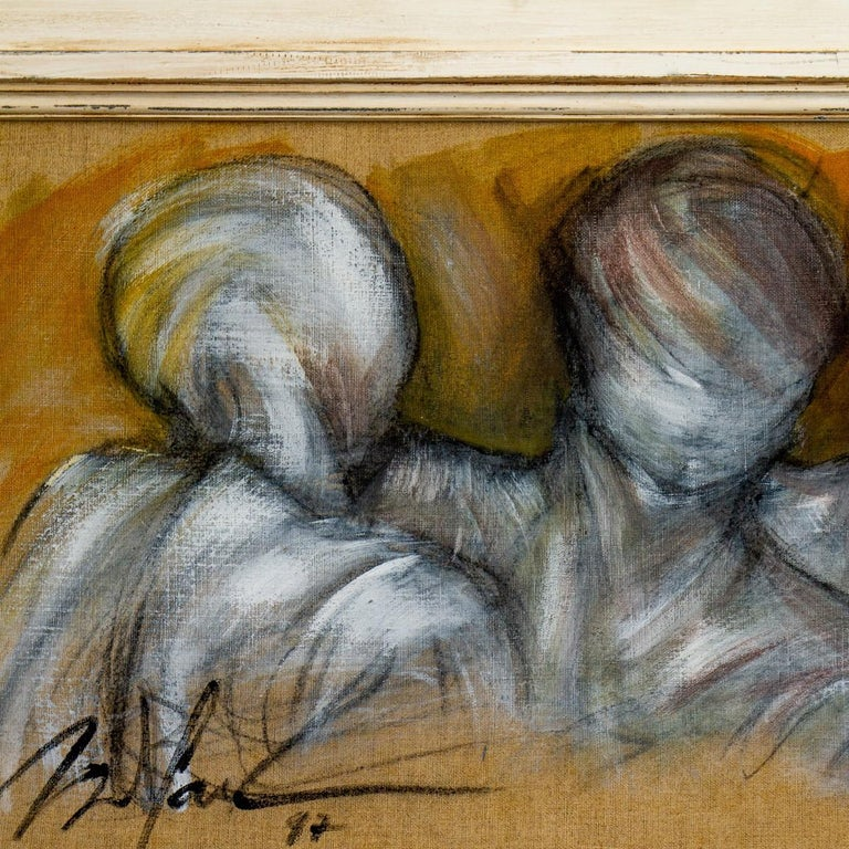 Framed Oil on Canvas Painting of Three Figures by Mickey Pfau, 1997 In Good Condition For Sale In Donhead St Mary, Wiltshire