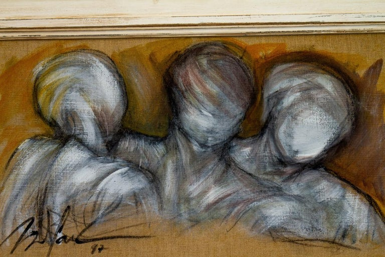 20th Century Framed Oil on Canvas Painting of Three Figures by Mickey Pfau, 1997 For Sale