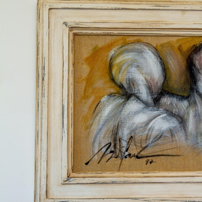 Framed Oil on Canvas Painting of Three Figures by Mickey Pfau, 1997 For Sale 1