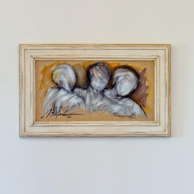 Framed Oil on Canvas Painting of Three Figures by Mickey Pfau, 1997 For Sale 3