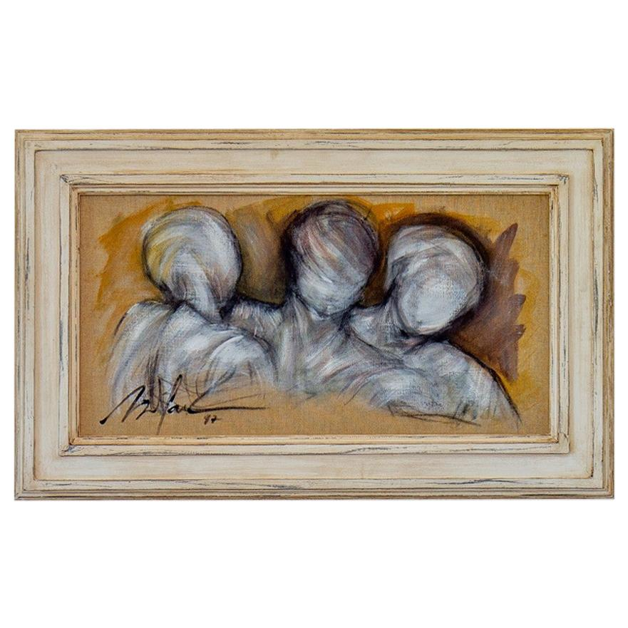 Framed Oil on Canvas Painting of Three Figures by Mickey Pfau, 1997