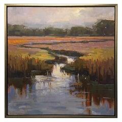 "Framed Oil on Canvas ""Placidity"" Marsh Scene, Jeff Markowsky"