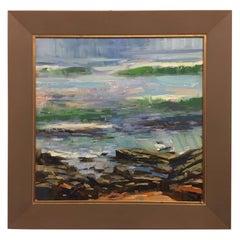 "Framed Oil on Canvas Plein Air ""Matanzas #1"" Beach Scene, Jeff Markowsky"