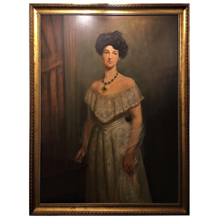 """Framed Oil on Canvas """"Portrait of a Lady with her Jewels"""" Unsigned, 19th Century For Sale"""