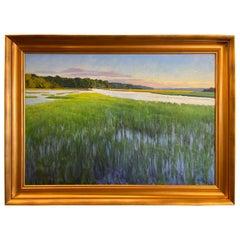 """Framed Oil on Canvas """"Re-Emergence"""", 'Marsh Scene' Michael Reibel"""