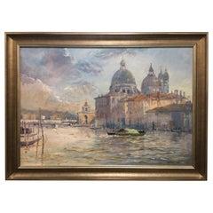 """Framed Oil on Canvas """"Santa Maria Della Salute Venice"""", Michael Chaplin"""