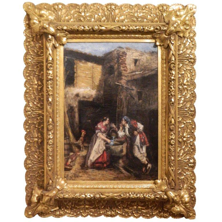 Framed Oil on Canvas Spanish School 'Romance at the Well', 19th Century