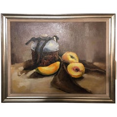 "Framed Oil on Canvas ""Still Life"" Peaches and Pot, Unsigned, Early 20th Century"