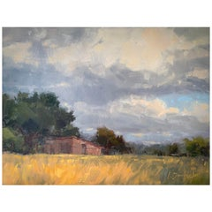 """Framed Oil on Canvas """"Stormy Field"""" Pastoral and Storm Scene by Laurel Daniel"""
