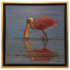 "Framed Oil on Canvas ""The Dancer"" Spoonbill Bird Feeding, Mary Segars"