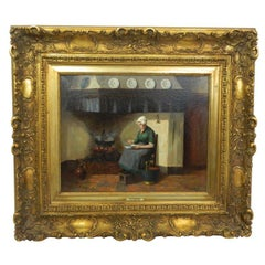 """Framed Oil on Canvas """"Woman Preparing Dinner in a Farm Kitchen"""", 19th Century"""
