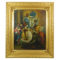 "Framed Oil on Copper Religious Painting ""The Ascension of Mary"", 19th Century"