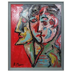 Framed Oil Painting by R. Monti