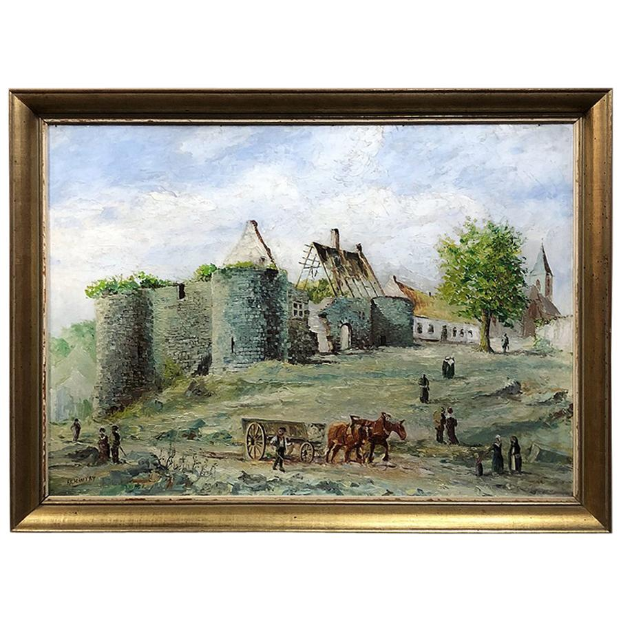Framed Oil Painting on Canvas by F. Chantry