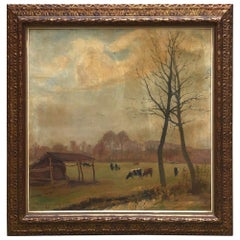Framed Oil Painting on Canvas by H. Van Landenghem