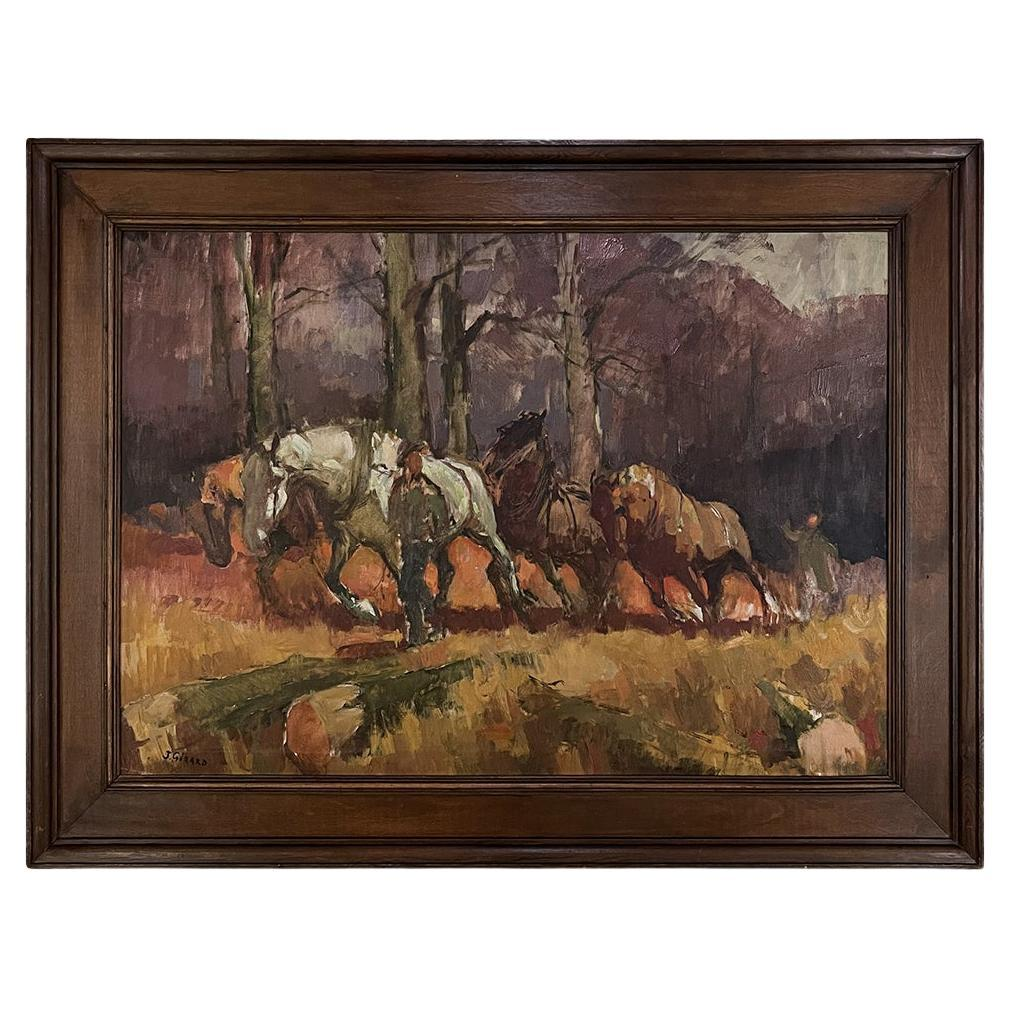 Framed Oil Painting on Canvas by J. Gerard