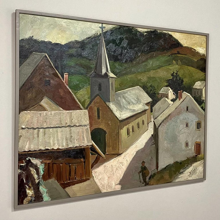 Framed oil painting on canvas by Louise Boxus Chevy (1910-1991) depicts the quaint church in the hamlet of Dohan in today's Luxembourg. The village is nestled amongst the foothills of the Alps, and offers exquisite vistas in every direction. Here