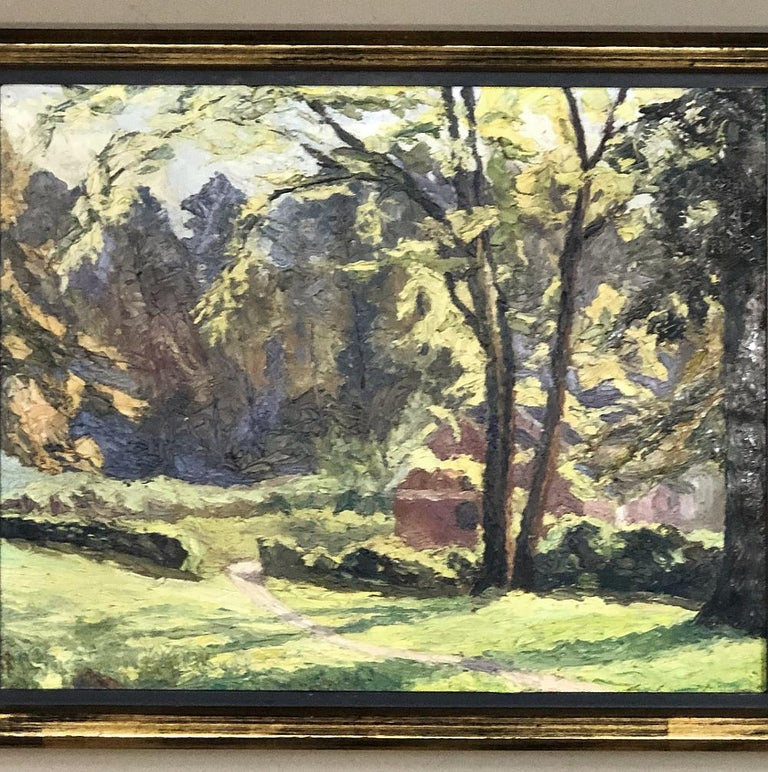 Framed oil painting on canvas, circa early 1900s is a splendid work of post-impressionistic technique, with multiple applicators being used to create texture in the oil painting, which depicts a quaint cottage nestled deep in a beautiful yet
