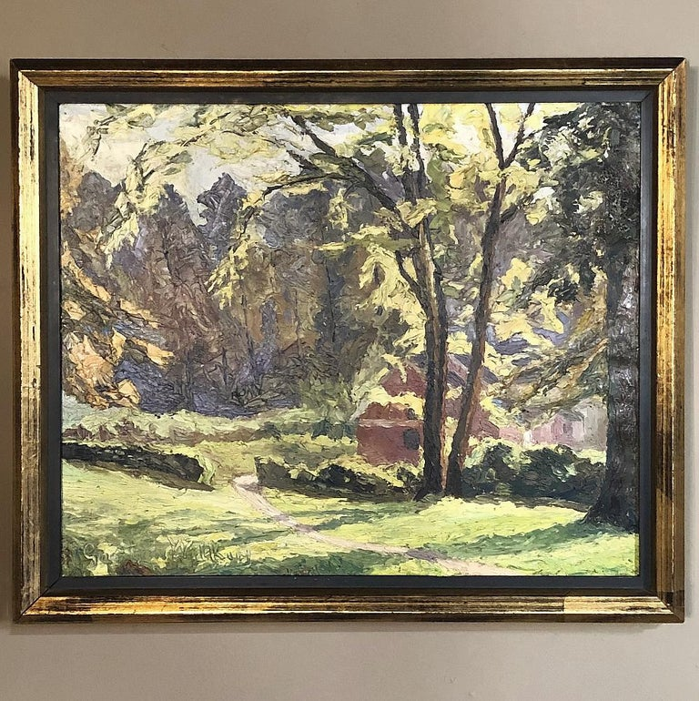 Expressionist Framed Oil Painting on Canvas, circa Early 1900s For Sale