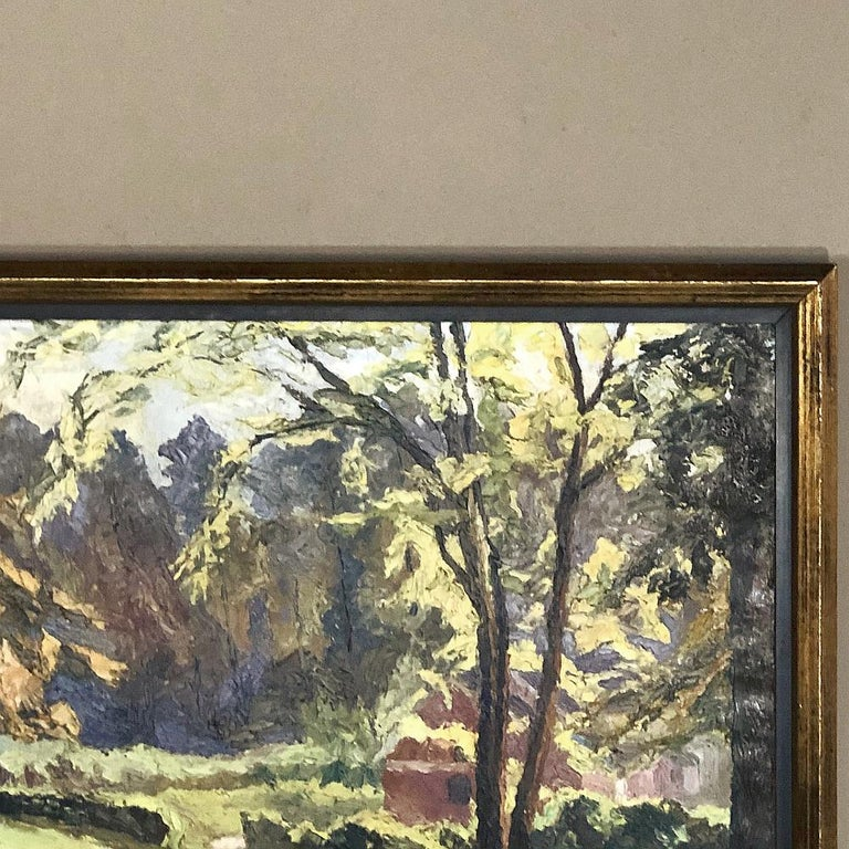 Hand-Painted Framed Oil Painting on Canvas, circa Early 1900s For Sale