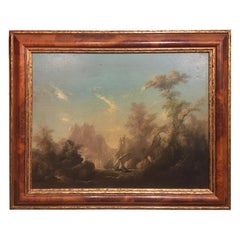 Framed Oil Painting on Canvas, Fisherman on Water, Unsigned, Late 19th Century