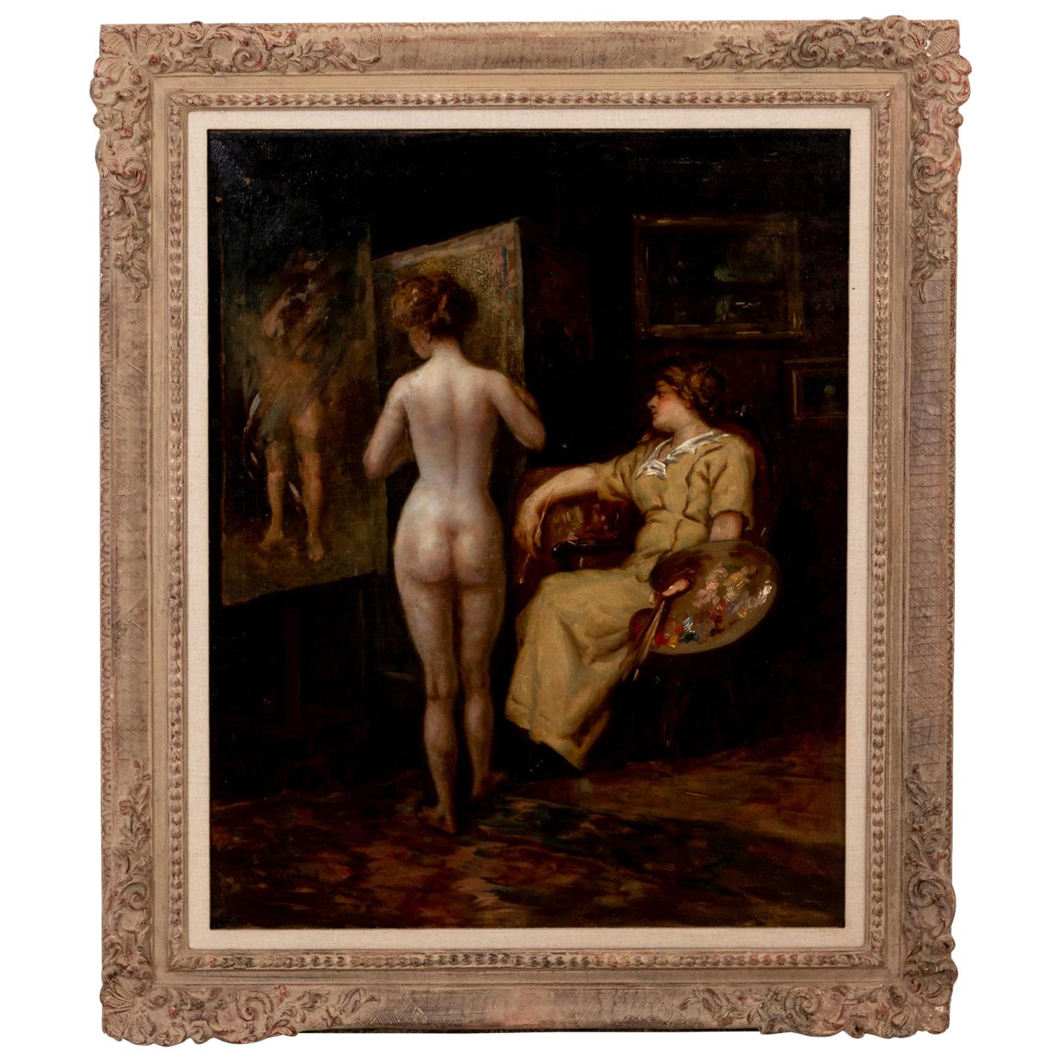 Framed Oil Painting Titled The Artist and Her Muse