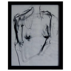 Framed Original Art, Charcoal Figure