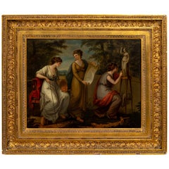 """Framed Painting on Board Titled """"The Three Muses"""""""