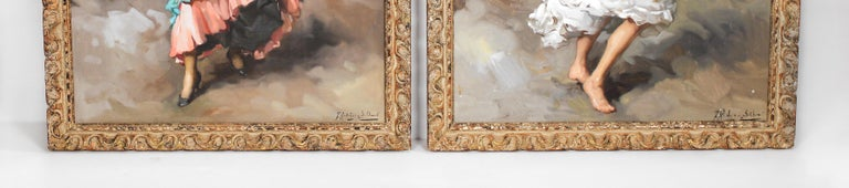 Spanish Framed Pair of Francisco Rodriguez san Clemente Oil Paintings For Sale