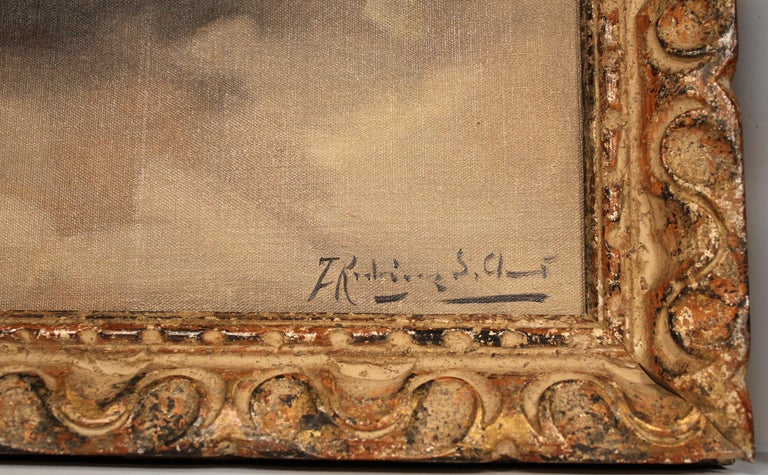 Hand-Painted Framed Pair of Francisco Rodriguez san Clemente Oil Paintings For Sale