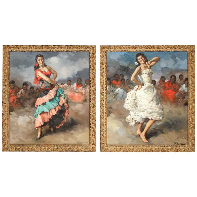 Framed Pair of Francisco Rodriguez san Clemente Oil Paintings For Sale