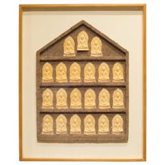 Framed Paper and Cotton Casting Buddhas by Bruce Fossum