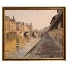 """Framed Paris Painting """"Matin sur les Berges de Seine"""" Signed R. Pettinari, 2012"""