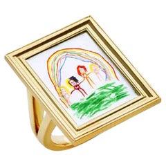 Framed Personalised 18 Karat Yellow Gold and Enamel Ring