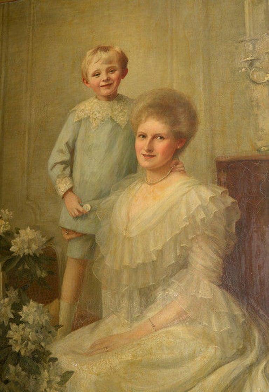 Edwardian Framed Portrait of a Mother & Son For Sale