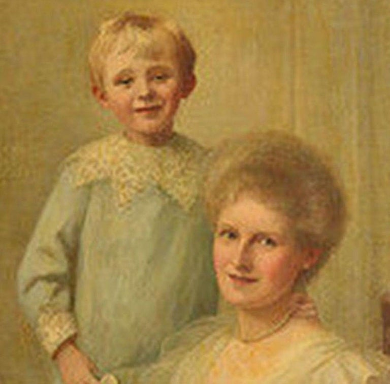 English Framed Portrait of a Mother & Son For Sale
