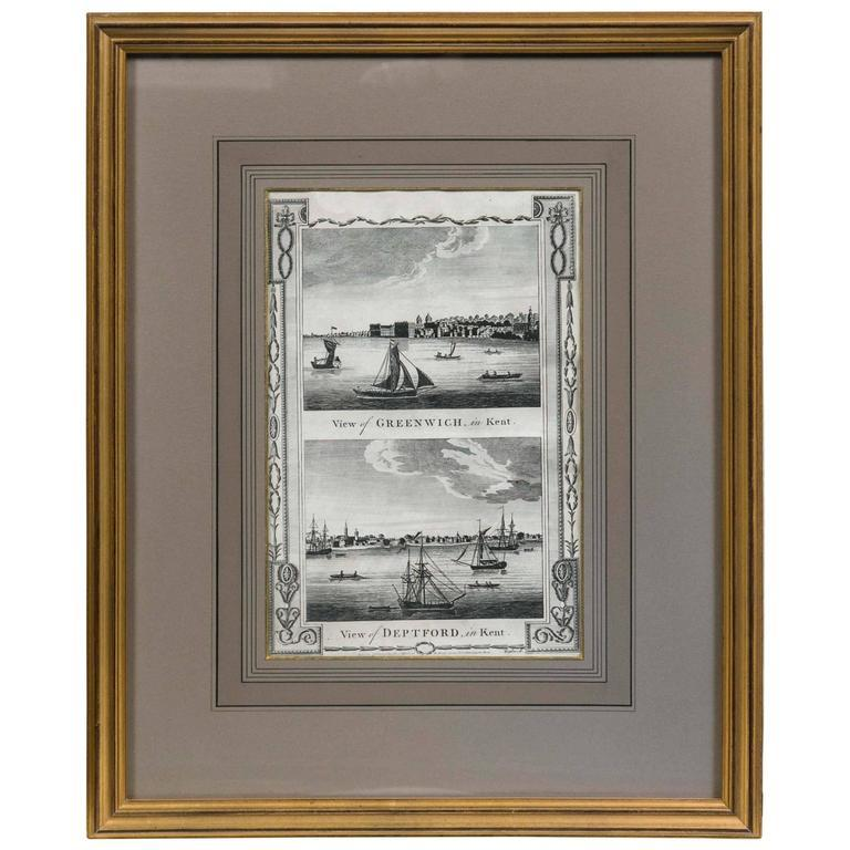 Paper Framed Print, English Harbor Views, Early 19th Century For Sale