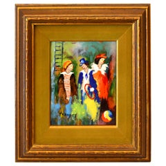Framed Realism Enamel Painting on Copper by T. Kooper Three Circus Clowns