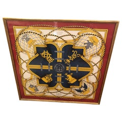 Framed Red Gold and Blue Hermes Scarf Wall Art