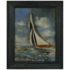 Folk Art Framed Sailboat Carving