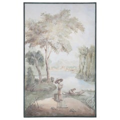 Framed Seascape Genre Painting of Fishermen Next to a Lake