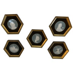 Framed Set of 5 Pastel Blue and White Medallions in Pate Sur Pate Style