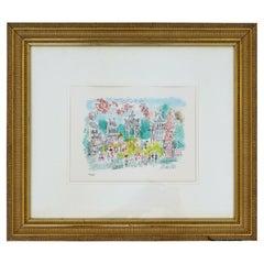 Framed Signed Charles Cobelle Paris Street Lithograph