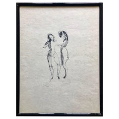 Framed, Signed Etching by Artist Leonor Fini, Two Women, Numbered J IX/XXVI