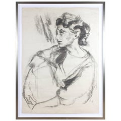 Framed Signed Midcentury Charcoal Sketch Found in Paris